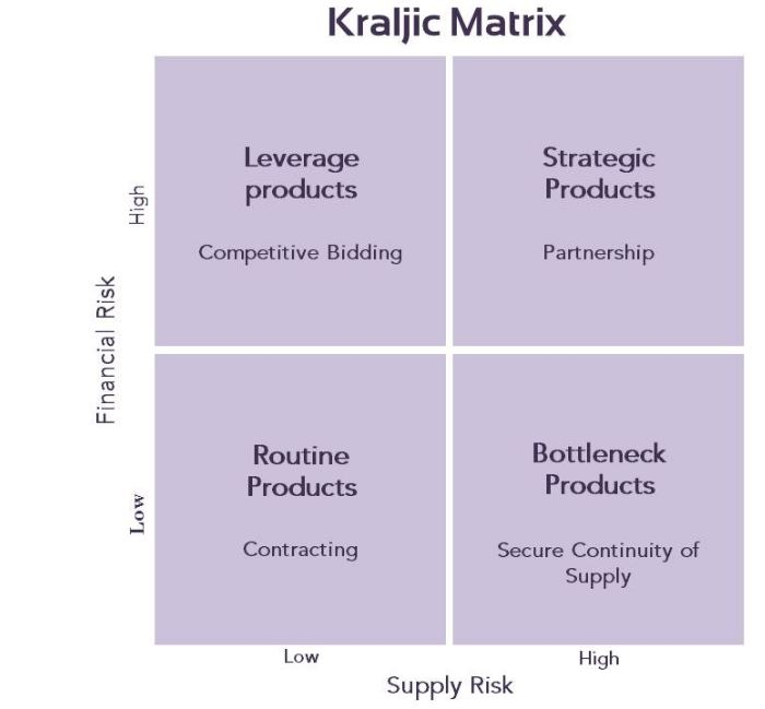 kraljic matrix simplified essay The kraljic matrix is one of the most effective ways to deliver accurate supplier segmentation although the kraljic matrix may appear simple to many procurement professionals, it is often inaccurately applied and this leads to misfiring supplier relationship management programs.